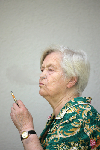 old woman smoking